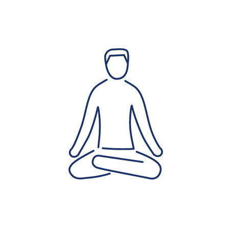 acupuntura: Meditation relaxation positon blue linear icon on white background | flat design alternative healing illustration and infographic