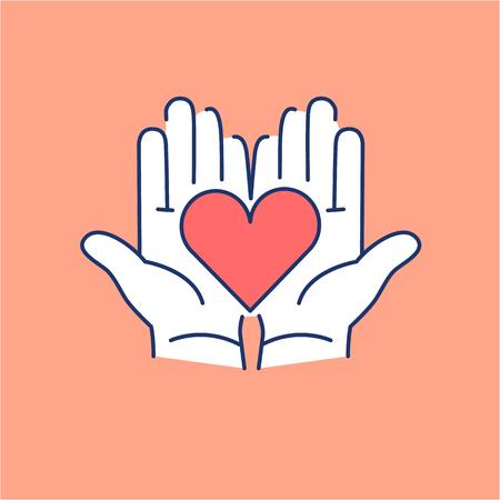心開いて手をオレンジ色の背景に赤と白の線形アイコン |癒しのイラストとインフォ グラフィック フラット デザイン代替  イラスト・ベクター素材