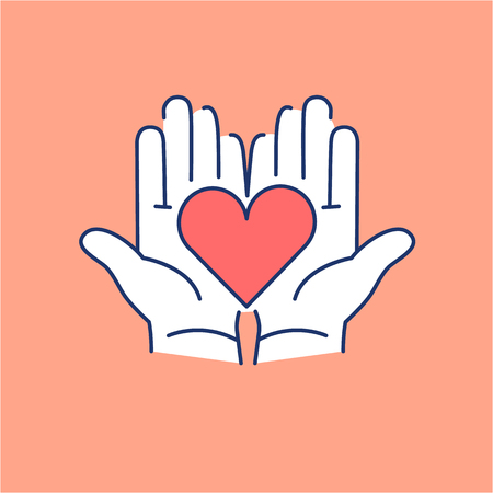 Heart in open hands red and white linear icon on orange background | flat design alternative healing illustration and infographic Vectores