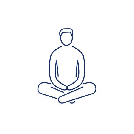 治癒: Man sitting and relaxing in meditation position blue linear icon on white background   flat design alternative healing illustration and infographic