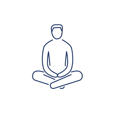 yoga to cure health: Man sitting and relaxing in meditation position blue linear icon on white background | flat design alternative healing illustration and infographic