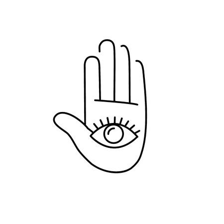 治癒: Eye in open hand palm black linear icon on white background   flat design alternative healing illustration and infographic