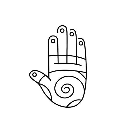 Reflex therapie energie-zones op de palm de hand zwarte lineaire pictogram op een witte achtergrond | platte ontwerp alternatieve geneeswijzen illustratie en infographic
