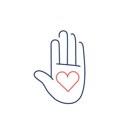 治癒: Heart in open hand palm red and blue linear icon on bwhite background   flat design alternative healing illustration and infographic  イラスト・ベクター素材