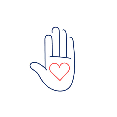 meridians: Heart in open hand palm red and blue linear icon on bwhite background | flat design alternative healing illustration and infographic Illustration