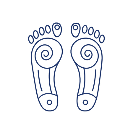 energy healing: Reflex therapy energy zones on feet blue linear icon on white background | flat design alternative healing illustration and infographic