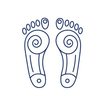 Reflextherapie energie-zones op de voeten blauwe lineaire pictogram op een witte achtergrond | platte ontwerp alternatieve geneeswijzen illustratie en infographic