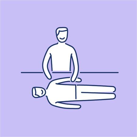 治癒: Man energetic healing other man on massage table white linear icon on purple background   flat design alternative healing illustration and infographic