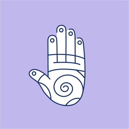 energy healing: Reflex therapy energy zones on palm hand white linear icon on purple background | flat design alternative healing illustration and infographic Illustration
