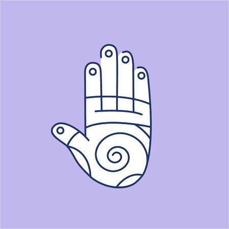 reflexe: Reflex zones d'�nergie de la th�rapie sur l'ic�ne lin�aire blanc paume de la main sur fond violet   design plat illustration de gu�rison alternatives et infographie