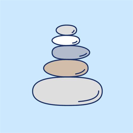 Piramide van de balancing stenen gekleurde lineaire pictogram op een blauwe achtergrond | platte ontwerp alternatieve geneeswijzen illustratie en infographic