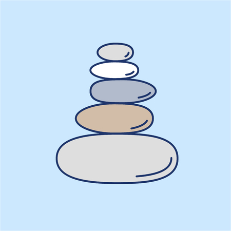 Pyramid of the balancing stones colored linear icon on blue background | flat design alternative healing illustration and infographic