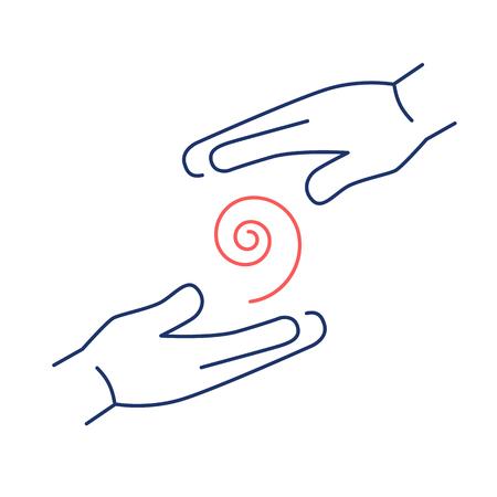 Circuler énergie de guérison entre les deux mains rouge et bleu icône linéaire sur fond blanc   design plat illustration de guérison alternatives et infographie