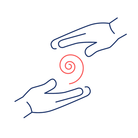 reiki: Flowing healing energy between two hands red and blue linear icon on white background | flat design alternative healing illustration and infographic