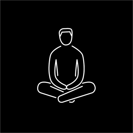 meditation man: Man sitting and relaxing in meditation position white linear icon on black background | flat design alternative healing illustration and infographic