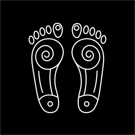 energy healing: Reflex therapy energy zones on feet white linear icon on black background | flat design alternative healing illustration and infographic