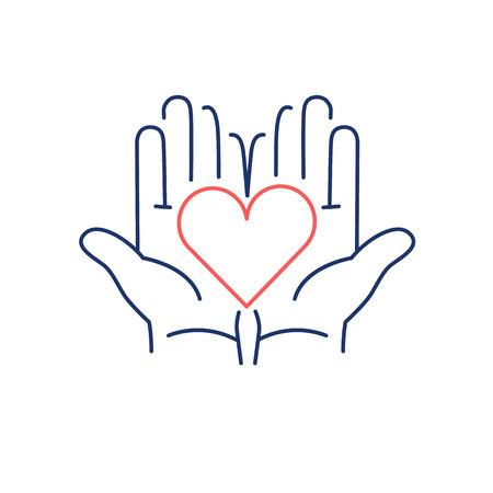 manos abiertas: Corazón en manos abiertas rojo y azul icono lineal sobre fondo blanco   diseño plano ilustración medicina alternativa y la infografía