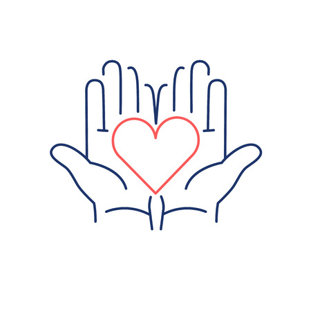 heart chakra: Heart in open hands red and blue linear icon on white background | flat design alternative healing illustration and infographic