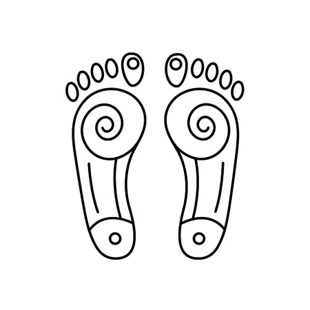 reiki: Reflex therapy energy zones on feet black linear icon on white background | flat design alternative healing illustration and infographic Vectores