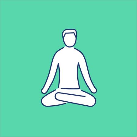 position d amour: La m�ditation relaxation positon lin�aire blanc ic�ne sur fond vert | design plat illustration de gu�rison alternatives et infographie