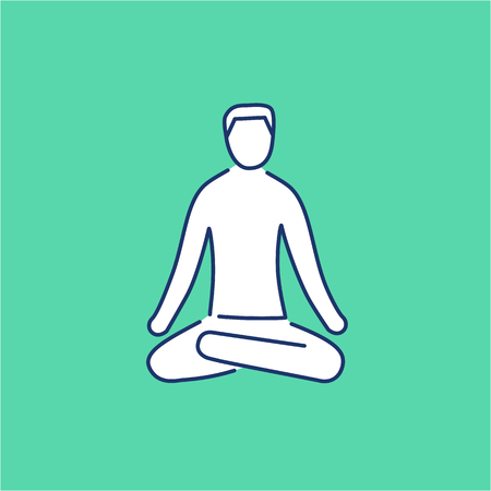 yoga to cure health: Meditation relaxation positon white linear icon on green background | flat design alternative healing illustration and infographic Illustration