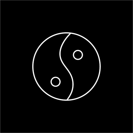Ying yang linear white icon symbol of harmony and balance on black background | flat design alternative healing illustration and infographic Illustration
