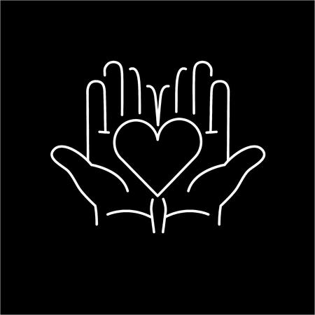Cuore in mani aperte icona lineare bianco su sfondo nero | design piatto illustrazione guarigione alternative e infografica Archivio Fotografico - 47446000
