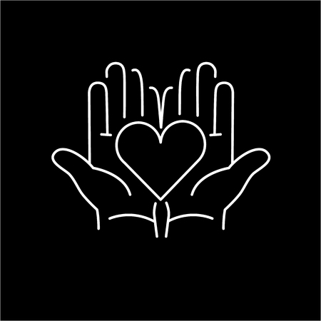 Heart in open hands white linear icon on black background | flat design alternative healing illustration and infographic