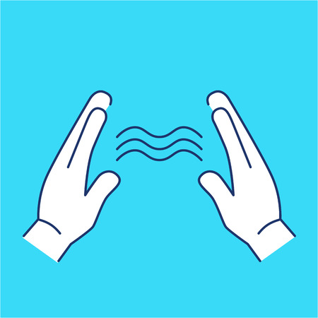 energy healing: Energy flowing between healings hands white linear icon on blue background | flat design alternative healing illustration and infographic