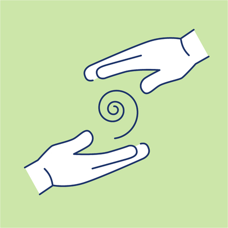 healing: Flowing healing energy between two hands white linear icon on green background | flat design alternative healing illustration and infographic