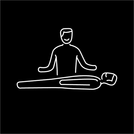 reiki: Man healing other man on massage table white linear icon on black background | flat design alternative healing illustration and infographic