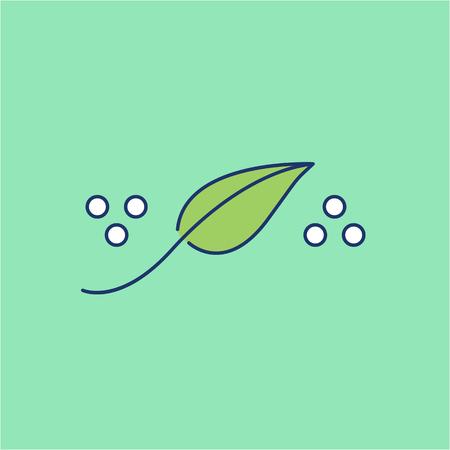 homeopatia: La homeopatía cura natural icono lineal de color verde oscuro sobre fondo verde | diseño plano ilustración de la medicina alternativa y la infografía Vectores