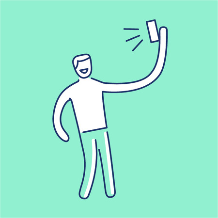 polarizing: man making selfie with one hand with smartphone or camera vector photography and linear icon and infographic | illustration of gear and equipment for professional photographers and amateurs isolated on green background Illustration