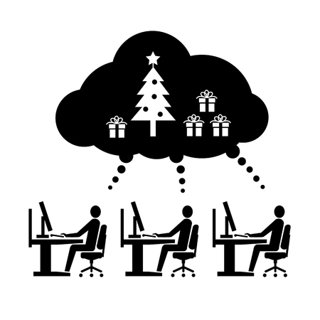 open space: Vector icon of employees working thinking and dreaming about christmas tree and gifts in open space office | black flat design business pictogram illustration and infographic isolated on white background