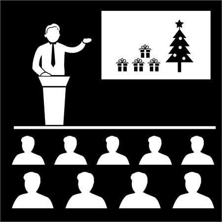 icon red: Vector christmas business presentation or conference icon | white flat design pictogram illustration and infographic isolated on black background