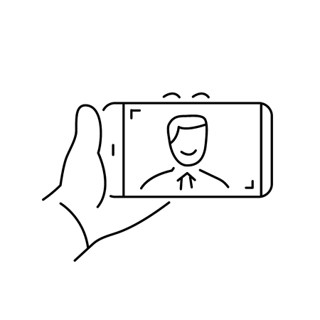 professional equipment: selfie gesture on smartphone or camera with one hand vector linear icon and infographic | illustration of gear and equipment for professional photographers and amateurs black isolated on white background