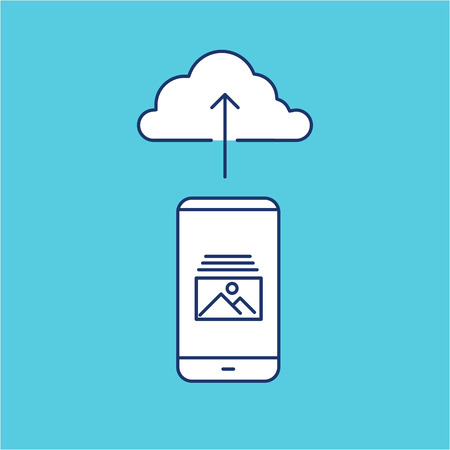 uploading photography from smartphone to cloud storage picture sharing vector linear icon and infographic | illustrations of gear and equipment for professional photographers and amateursisolated on blue background Illustration