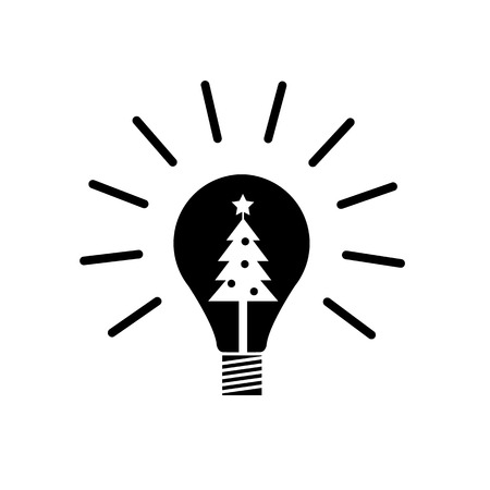 new idea: Vector new idea bulb icon with christmas tree inside | black flat design pictogram illustration and infographic isolated on white background