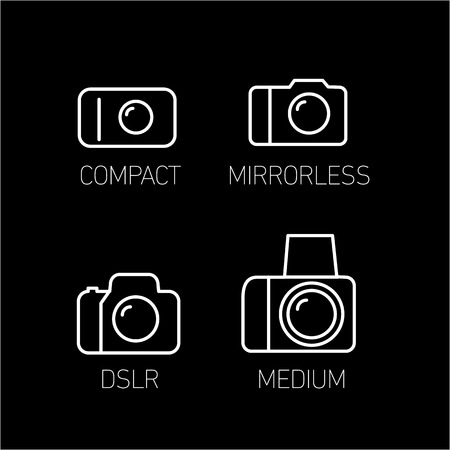 professional equipment: camera and photography systems from compact to mirrorless, dslr and medium format vector linear icon and infographic | illustrations of gear and equipment for professional photographers and amateurs white isolated on black background