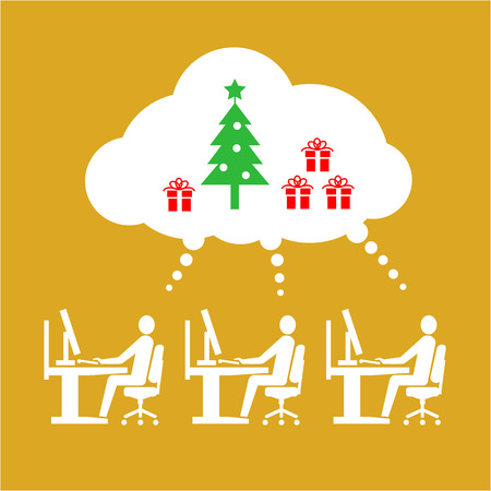 business space: Vector icon of employees working thinking and dreaming about christmas tree and gifts in open space office | white flat design business pictogram illustration and infographic isolated on golden background