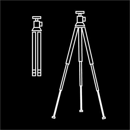 professional equipment: vector tripod linear icon for photography and camera and infographic | illustrations of gear and equipment for professional photographers and amateurs white isolated on black background Illustration