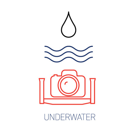 cf: vector underwater photography and camera linear icon and infographic | illustrations of gear and equipment for professional photographers and amateurs blue and red isolated on white background