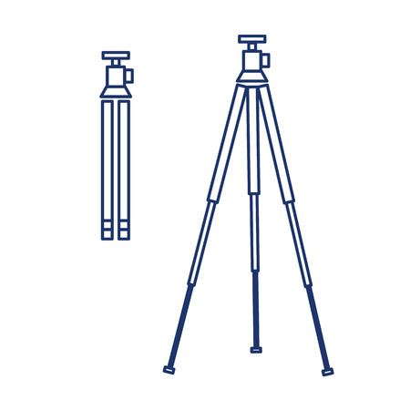 professional equipment: vector tripod linear icon for photography and camera and infographic | illustrations of gear and equipment for professional photographers and amateurs blue isolated on white background