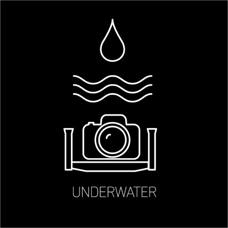 professional equipment: vector underwater photography and camera linear icon and infographic | illustrations of gear and equipment for professional photographers and amateurs white isolated on black background