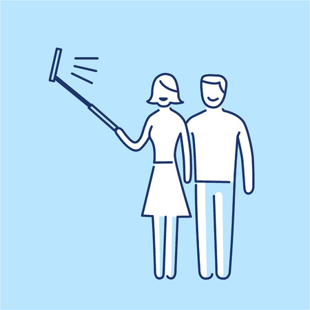 professional equipment: couple making selfie together with stick vector photography and camera linear icon and infographic | illustration of gear and equipment for professional photographers and amateurs isolated on blue background Illustration