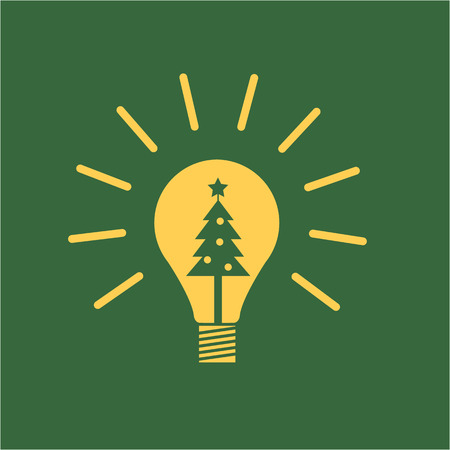 new idea: Vector new idea bulb icon with christmas tree inside | yellow flat design pictogram illustration and infographic isolated on green background Illustration
