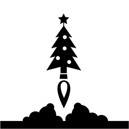 starting a business: Christmas tree starting like a rocket launch vector startup business icon | black flat design pictogram illustration and infographic isolated on white background