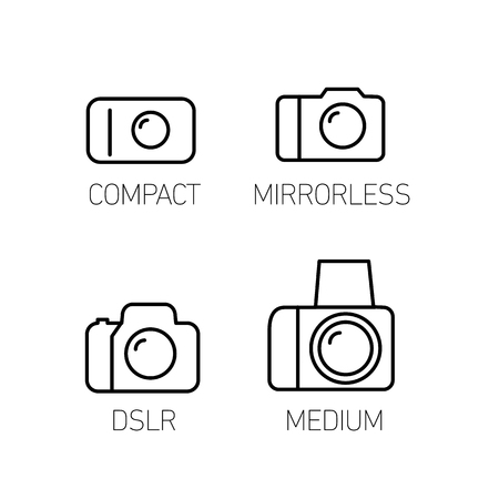 digicam: camera and photography systems from compact to mirrorless, dslr and medium format vector linear icon and infographic | illustrations of gear and equipment for professional photographers and amateurs black isolated on white background Illustration