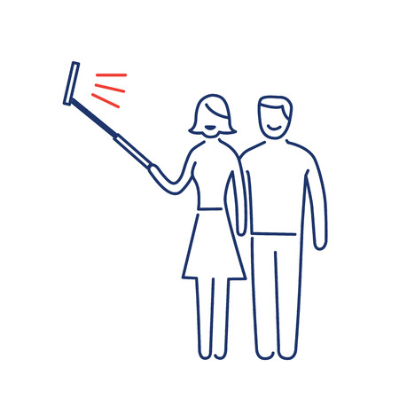 professional equipment: couple making selfie together with stick vector photography and camera linear icon and infographic | illustration of gear and equipment for professional photographers and amateurs blue and red isolated on white background Illustration
