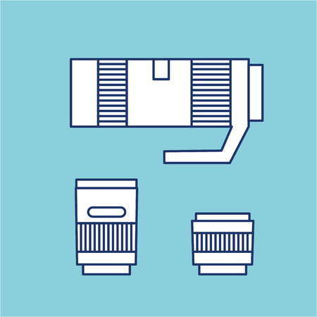 vector photography and camera lenses from wide to telephoto linear icon and infographic | illustrations of gear and equipment for professional photographers and amateurs isolated on blue background